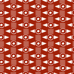 Strong red and white geometric tribal pattern