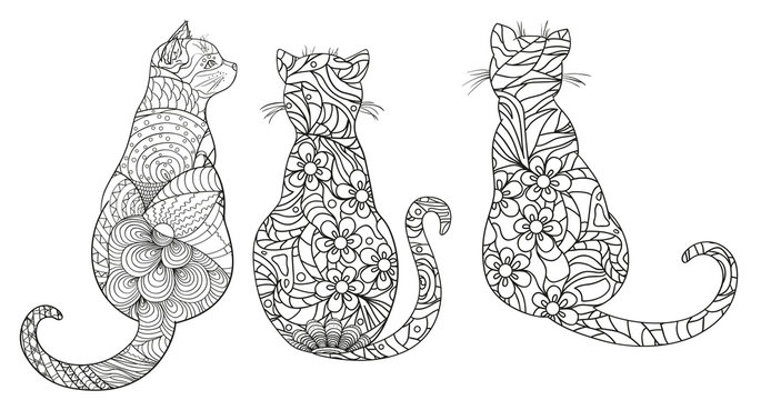 Cats. Zentangle. Hand drawn cat with abstract patterns on isolation background. Design for spiritual relaxation for adults.Outline for t-shirts. Print for polygraphy, posters and textiles