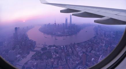 Bird View of Shanghai City on Flight.
