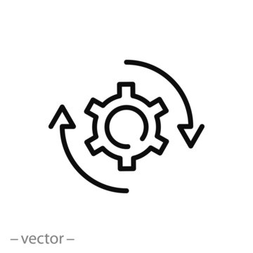 gear rotation icon, workflow line sign on white background - editable vector illustration eps10