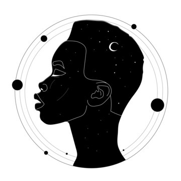 Figure of a woman in the style of boho, cosmic style, graphic vector illustration, portrait of a woman, space inside, esoteric, mysticism