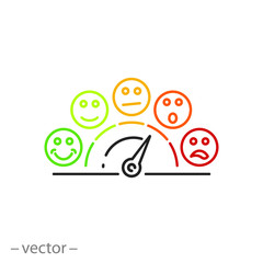 rating scale icon, customer satisfaction meter line sign on white background - editable vector illustration eps10