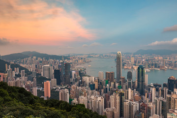 The Peak mountain view Hong Kong central business downtown, cityscape background
