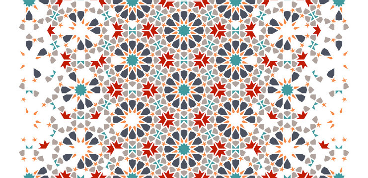 Tile repeating vector border. Geometric halftone pattern with colorful arabesque disintegration