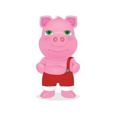 Pig cartoon fatty kind-hearted man in red pants. Symbol of the year 2019. Character vector drawing. New Year.