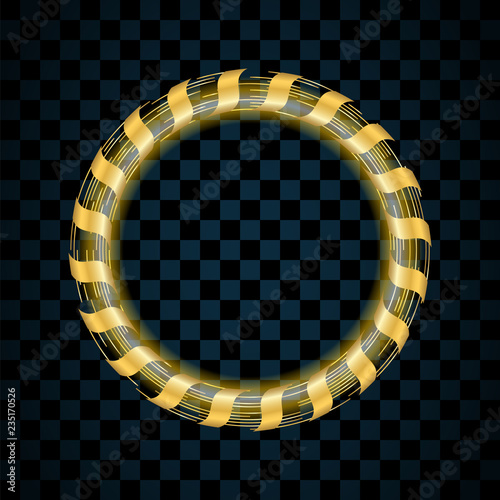 gold circle isolated on transparent black background golden ring frame glitter round with bright