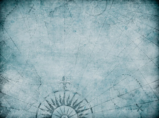 Blue medieval old nautical map background