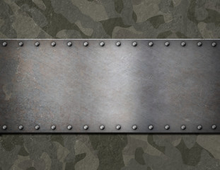metal plaque over military camouflage armor 3d illustration