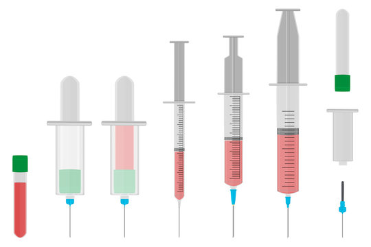 Illustration on theme big colored set different types of syringes