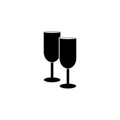 Champagne glasses vector icon, logo