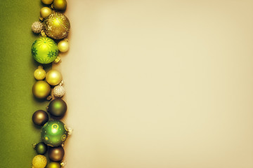 Christmas decoration golden green glass balls background