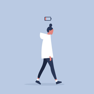 low battery conceptual illustration. young female exhausted character. Modern urban life / flat editable vector illustration