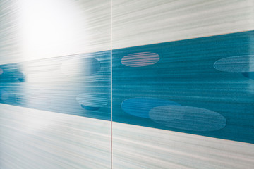 Blue mosaic tile horizontal perspective