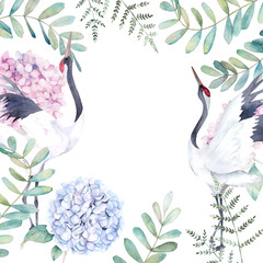 Wedding floral frame with crane, eucalyptus branch and hydrangea. Watercolor hand drawn illustration