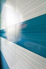 Blue mosaic tile vertical perspective