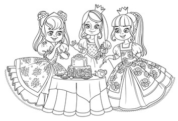 Three beautiful princesses having a tea party with a cake outlined for coloring book isolated on white background