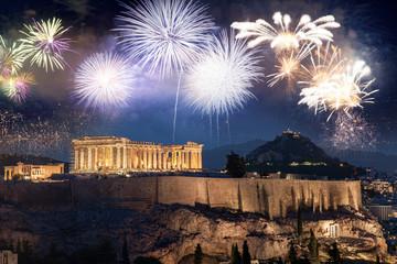 Foto auf Leinwand Athen fireworks over Athens, Acropolis and the Parthenon, Attica, Greece - New Year destination