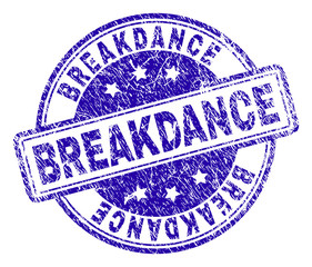 BREAKDANCE stamp seal imprint with grunge texture. Designed with rounded rectangles and circles. Blue vector rubber print of BREAKDANCE caption with unclean texture.