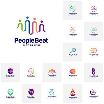 Set of Community logo template designs concepts vector illustration, People Beat logo concepts