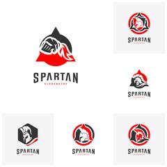 Set of Spartan Logo design vector illustration . Spartan Helmet Logo template. Modern professional logo set for a sport team