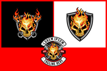 fire skull emblem logo for motorcycle club vector template