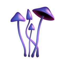Hallucinogenic purple mushroom psilocybe on a thin leg on white