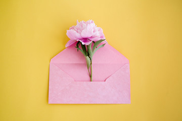 One peony flower in a pink envelope on a yellow background, top view. Romantic card by a holiday
