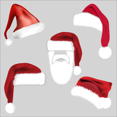 Santa Hat Set Icon Symbol Design. Vector Christmas  illustration isolated on grey background