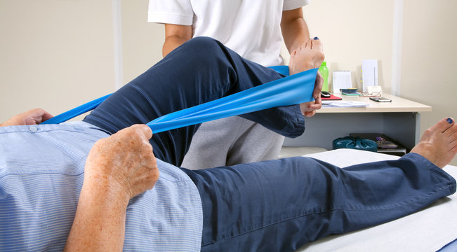 Senior patient and physiotherapist