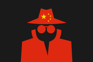 Chinese spy is doing espionage - surveillance and control made by China. Intelliegence agency and secret police in the country. Vector illustration - fototapety na wymiar