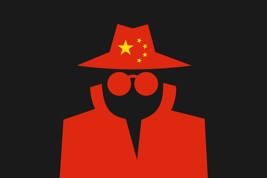 Chinese spy is doing espionage - surveillance and control made by China. Intelliegence agency and secret police in the country. Vector illustration