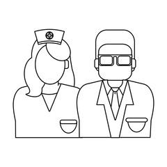 Medical teamwork avatar in black and white