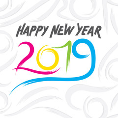 colorful new year 2019 poster design