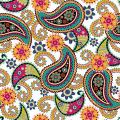 Seamless Paisley background.Colorful flowers and leaves on white