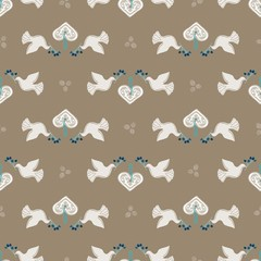 Seamless Vector Peaceful White Holiday Doves, Gingerbread Hearts, Berry Branches in Brown + Blue