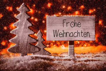 Sign, Wooden Tree, Snow, Calligraphy Frohe Weihnachten Means Merry Christmas