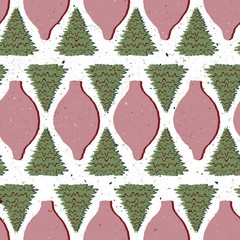 Seamless Vector Textured Woodland Christmas Tree Geometric Ornament Shadow in Pink, White, + Green