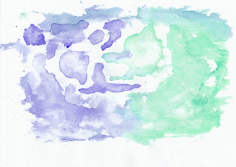 Indigo (iris) and mint (jade) mixed watercolor horizontal gradient background. It's useful for greeting cards, valentines, letters. Abstract art style handicraft pattern.