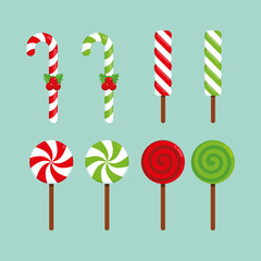 Christmas - Flat Icon Set - Sugar Canes, Candy Sticks and Lollipops on a Blue Background