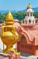 The golden decorative vase on the rooftop of the shrine of Sitagu International Buddhist Academy pagoda, Sagaing, Myanmar.