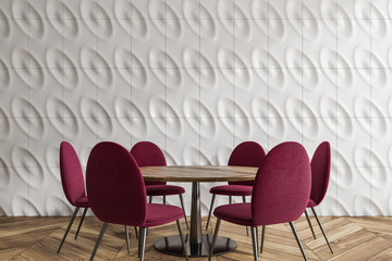 White geometric pattern dining room