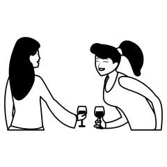 cartoon two women design