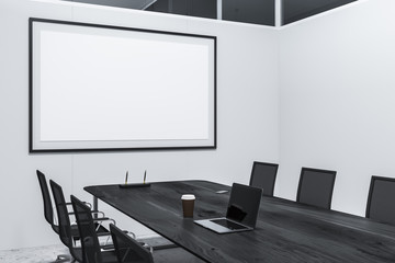 White meeting room corner, poster