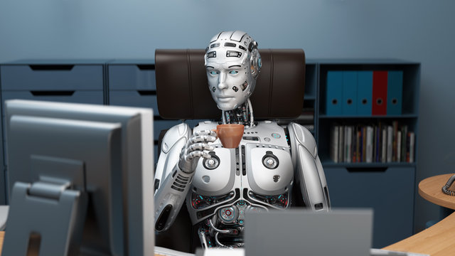 Futuristic robot or cyborg holding a cup of tea while sitting in the office. 3D Render.