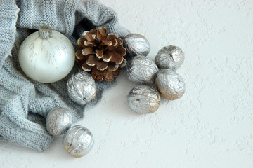 christmas balls and decorations on white background