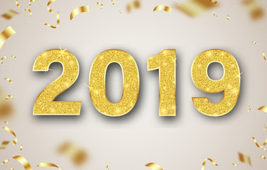 Happy New Year 2019 card with golden shiny figures and confetti.