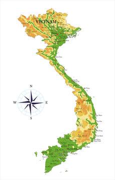 Vietnam physical map