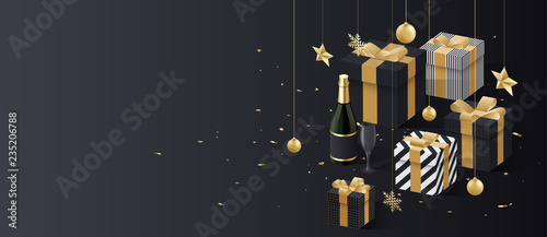 christmas and new year banner with golden 3d gifts champagne and confetti