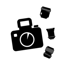 photographic camera with set lens