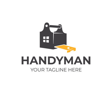 Construction, toolbox, pocket measure measuring tape and home with window, logo design. Handyman, building, carpentry and build, vector design and illustration